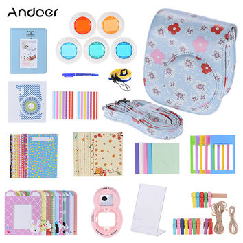 Andoer 14 in 1 Accessories Kit for Fujifilm Instax Mini 8/8+/8s w/ Camera Case Filter Kinds Film Table Frame Corner Sticker/Pen