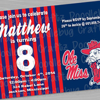 Ole Miss Rebels Birthday Party Invitations! Custom Personalized 24hr turn around. Choose Your Size 4x6 or 5x7 - Colonel Rebel - Mississippi