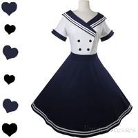 New 50s White Navy BLUE SAILOR Full Skirt Party Dress S M L XL Pinup Rockabilly