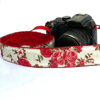 Roses Camera Strap.dSLR Camera Strap. Women accessories