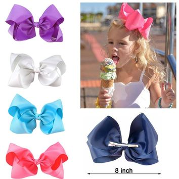10 pcs/lot 3 inch Grosgrain Ribbon 8 inch Big Hair Bow Boutique Hair Bow For Girls Hair Bow With Clip ZH10-14022015