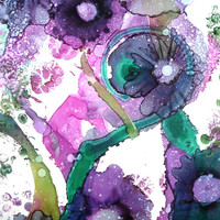 Alcohol Ink Original Art Work, Abstract Floral Painting, Purple Nature Artwork, Colorful Wall Art, Flower Wall Decor, Pink Expressionism,