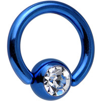 "14 Gauge 5/16"" Austrian Crystal Blue Titanium BCR Captive Ring 