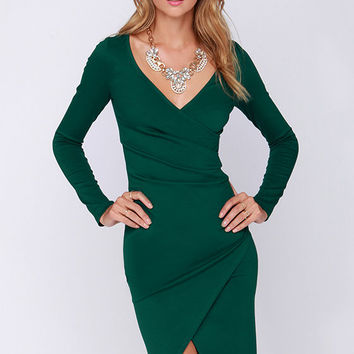LULUS Exclusive Shakedown Forest Green Long Sleeve Midi Dress