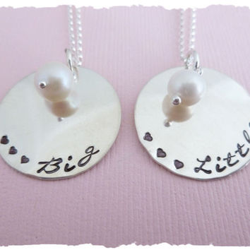 Sterling Silver Freshwater Pearl Hand Stamped Necklace Set (Includes both necklaces)  Sorority Sisters Necklace  Big & Little