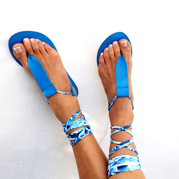 Gladiator Leather Sandals, blue lace up Sandals, Spartan Greek Sandal, barefoot, Genuine leather shoes