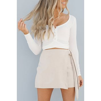 Crossing The Line Crop Top (White)