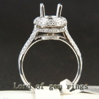 7x9mm Oval Cut Real 14K White Gold .63ctw Diamonds Engagement Semi Mount Ring