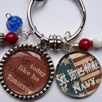 Live today like he deploys tomorrow keychain patriotic red white blue military corps USA army navy marines beautiful quote personalized