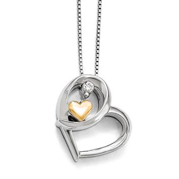 Diamond Hugging Heart Necklace in Sterling Silver & 14k Yellow Gold