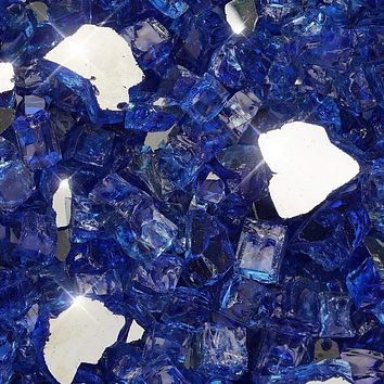 "Vibrant Luster 1/2"" Medium Cobalt Blue (by the Pound) - Tempered Reflective Fire Glass Rock for Fireplace and Fire Pit"