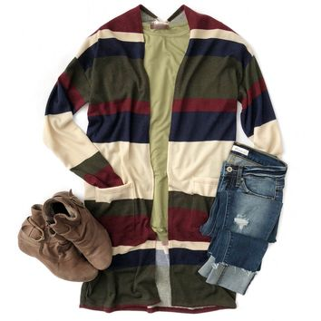 Olive, Navy and Burgundy Cardigan