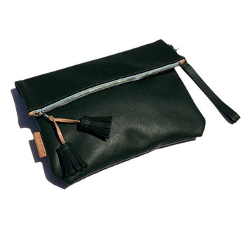 Green Leather Clutch, Fold Over Clutch Purse, Leather Handbag with Tassels, Green Wristlet Bag