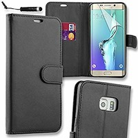Connect Zone PU Leather Flip Wallet Case Cover Pouch Samsung Galaxy S7 Edge (G935) Screen Protector, Polishing Cloth Mini Stylus - Black + Mini Stylus