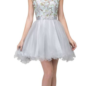 Embroidered Bodice Homecoming Short Dress Cap Sleeved Silver