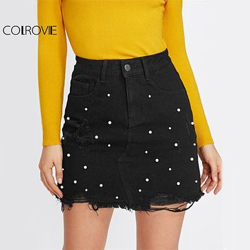 COLROVIE Pearl Detail Ripped Skirt Women Black Cut Hem Cute Denim A Line Skirts 2017 Fashion Spring Fall Girls Casual Skirt