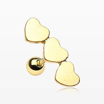 Golden Triple Dainty Hearts Cartilage Tragus Barbell
