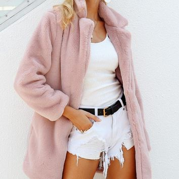 Elegant, Plush, Fabulous Faux Fur Coat/Jacket, choose pink, gray, or camel.  FREE SHIPPING