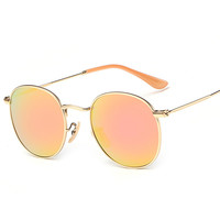 New super quality round polarized sunglasses women gold metal orange silver blue rose gold mirrored sun glasses men UV400 driver