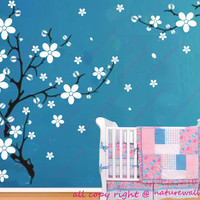 Cherry blossom wall decals tree decals baby nursery kids room decor nature girl wall decor wall art- Trailing Cherry Blossom Tree