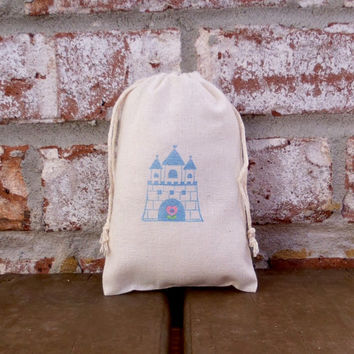 Fairytale Castle Hand Stamped Cotton Muslin 4x6 Favor Bag - great for Princess Birthday parties, Tea Parties, Baby Showers or even Weddings