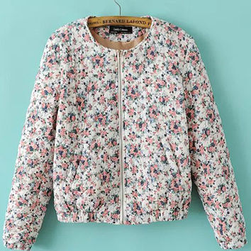 White Long Sleeve Small Floral Print Padded Sweater