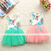 Hot Summer Children's Dress Kids Girls Flower Ribbon Bow Sundress/Cute Girls Cotton Printing Sleeveless Lace TUTU Dress 4 pcs/lot