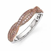 Sterling Silver Rose Gold-Plated Pink Brilliant Embers Ring