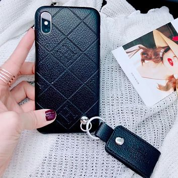 Hermes Fashion New Letter Leather Case Women Men Mobile Phone Case Cover Black