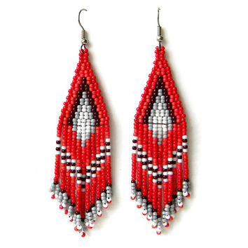 Red dangle earrings Red beaded earrings Red seed bead errings Ethnic earrings Ethnic beaded jewelry Seed bead jewelry Boho earrings Beadwork