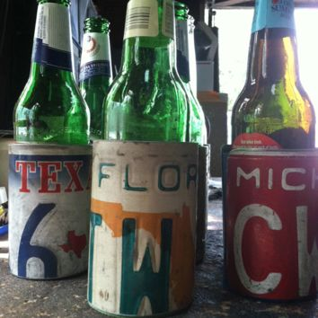 Recycled License Plate Bottle Koozie
