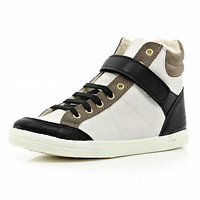 Navy color block shearling lined high tops - high tops - shoes / boots - women