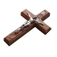"10"" Wall Wood Cross St. Saint Benedict & Medal Holy Land Handmade Silver Plated Crucifix"