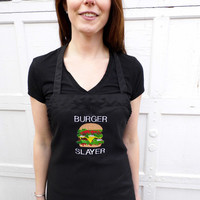 Burger Slayer Men's Apron - BBQ Apron - Embroidered and Personalized Apron