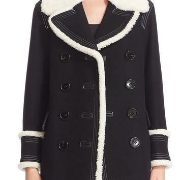 Burberry 'Colstead' Wool Blend Coat with Leather & Genuine Shearling Trim | Nordstrom
