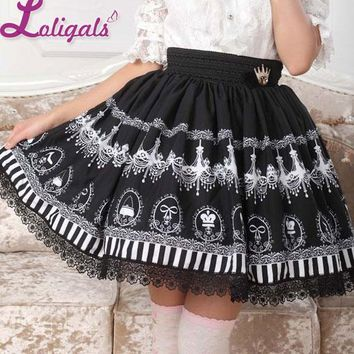 Black Chandelier Printed Fairy Tale Themed Lady's Pleated Lolita Skirt Free Shipping