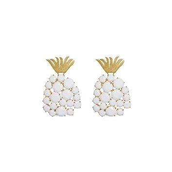 2018 New Baroque Retro Fashion Exaggerated Pineapple Fruit Earrings Vintage Pearl Stud Earrings 917