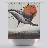 Unique Shower Curtain - Whale Mountain by Leftfield_Corn