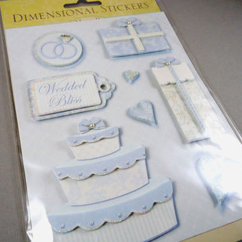 Wedding Scrapbook Stickers, 3D Dimensional, Marcella by Kay, Blue & White, Wedding Cake, Wedded Bliss
