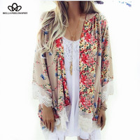 autumn winter new floral flowers placement print loose chiffon kimono Cardigan coat lace hem