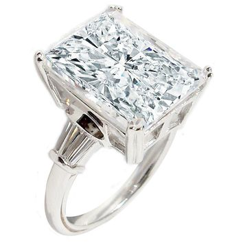 10 CT. Radiant Center Classic Style Settings Sterling Silver Ring W/Two 1 CT. Triangular Sides Simulated Diamond Engagement/Wedding Sterling Silver Ring. 635R71507