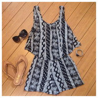 Spring Time Fun Sleeveless Tiered Romper
