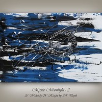 """PAINTING, 36"""" Blue MODERN ART Decor, Artwork, Abstract Oil Painting Wedding Gift for Friends Hand Made Abstract Painting - Nandita"""