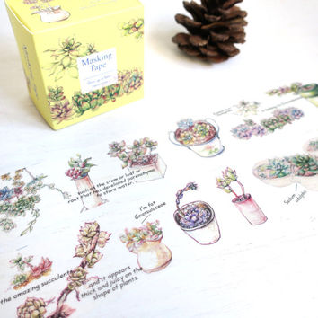 Succulent Plants washi masking tape mt