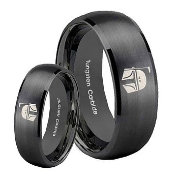 His Hers Star Wars Boba Fett Sci Fi Science Brush Black Dome Tungsten Wedding Rings Set
