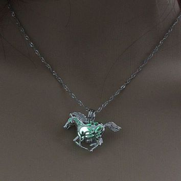 """1-1/4"""" x 3/4"""" HORSE with GLOW IN THE DARK BALL 18"""" Luminous Pendant Necklace"""