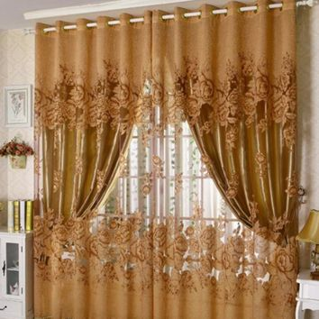 New Arrival Peony Pattern Pastoral Voile Curtain Window Valance European Lace Curtains Girls Bedroom Curtains 100cmx250cm