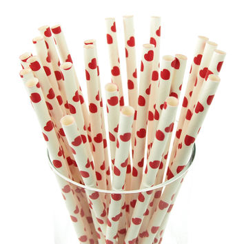 Heart Paper Straws, 7-3/4-inch, 25-pack, Red/White