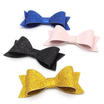 1PC Retail 2017 New 12 Colors 4'' Leather Bow With/Without Hair Clips, Kids Hairpins for Headband, Hair Accessory Headwear