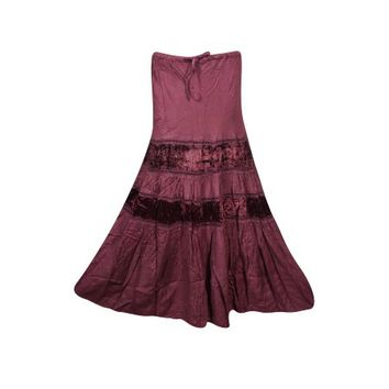 Mogul Womens Tiered Skirt Velvet Touch Rayon A-LINE Boho Chic Hippy Gypsy Medieval Vintage Skirts - Walmart.com